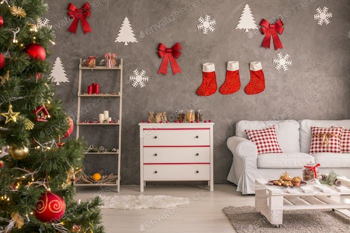 Stockings and decorations on the wall