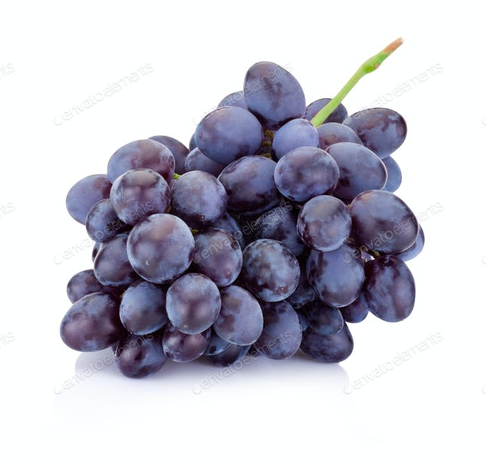 Fresh blue grapes isolated on a white background