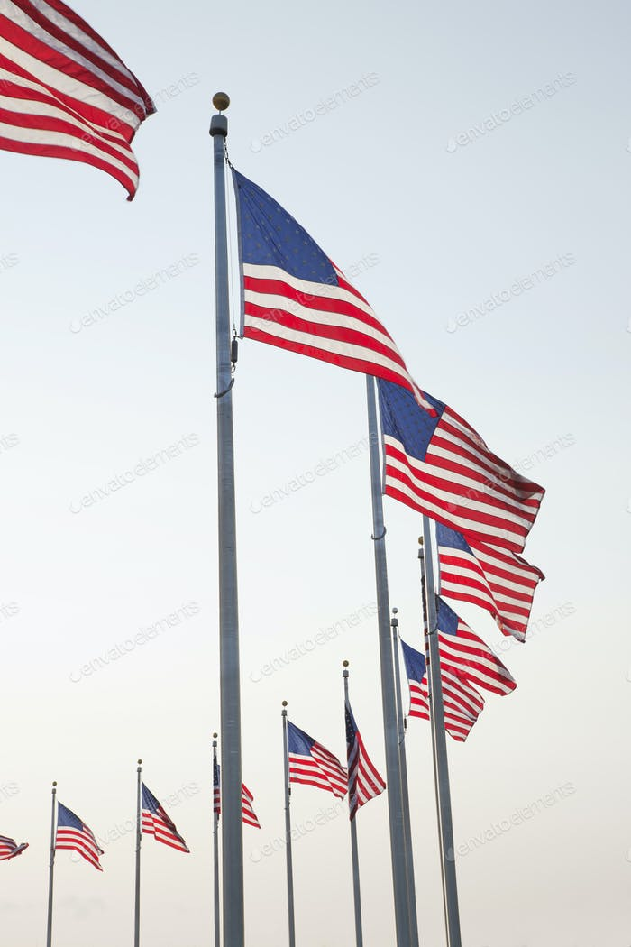 Flags at the Washington Monument in Washington DC