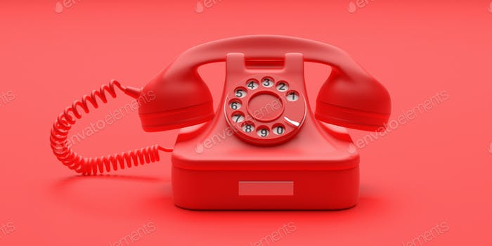 Telephone vintage on red color background. 3d illustration