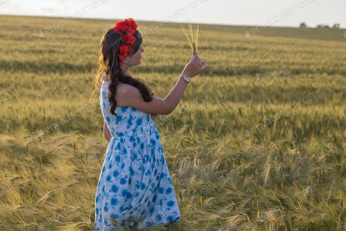 Beautiful brunette lady in wheat field.