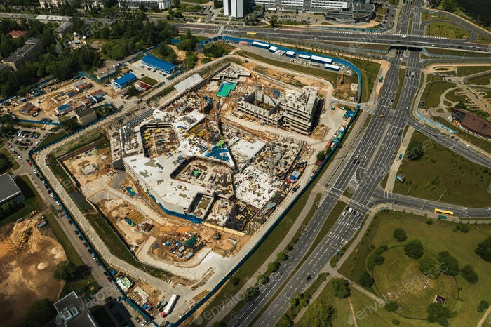 View from the height of the Construction site in Minsk near the national Library.Construction in the