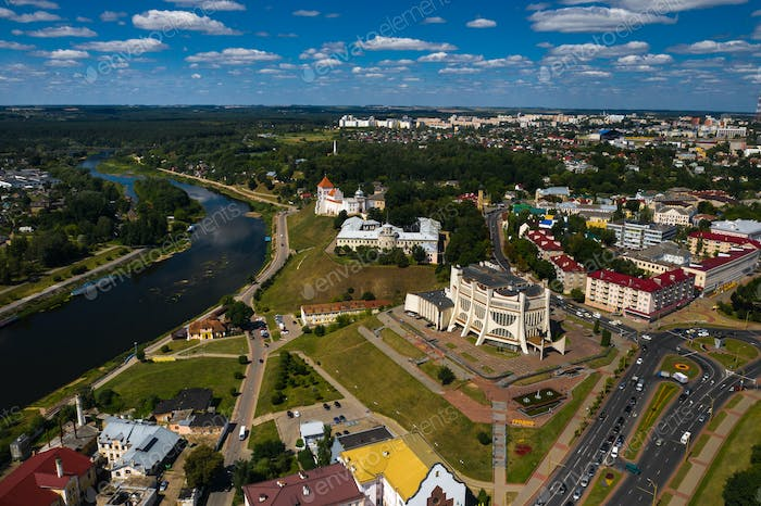 Top view of the city center of Grodno, Belarus. The historic centre with its red-tiled roof,the