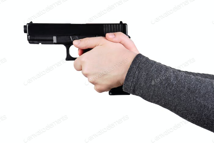 Close up of a gun in a hands