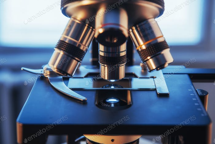 microscope close-up shot in the laboratory.