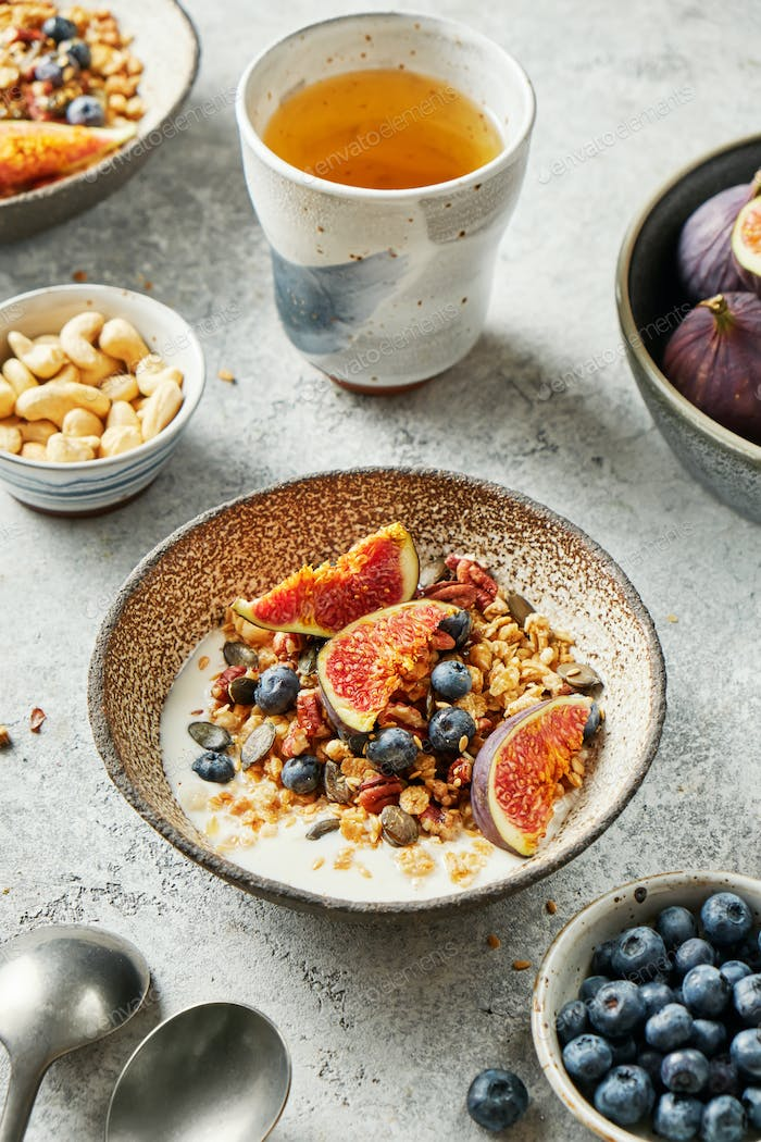 Homemade granola with yogurt, blueberry and figs for healthy breakfast