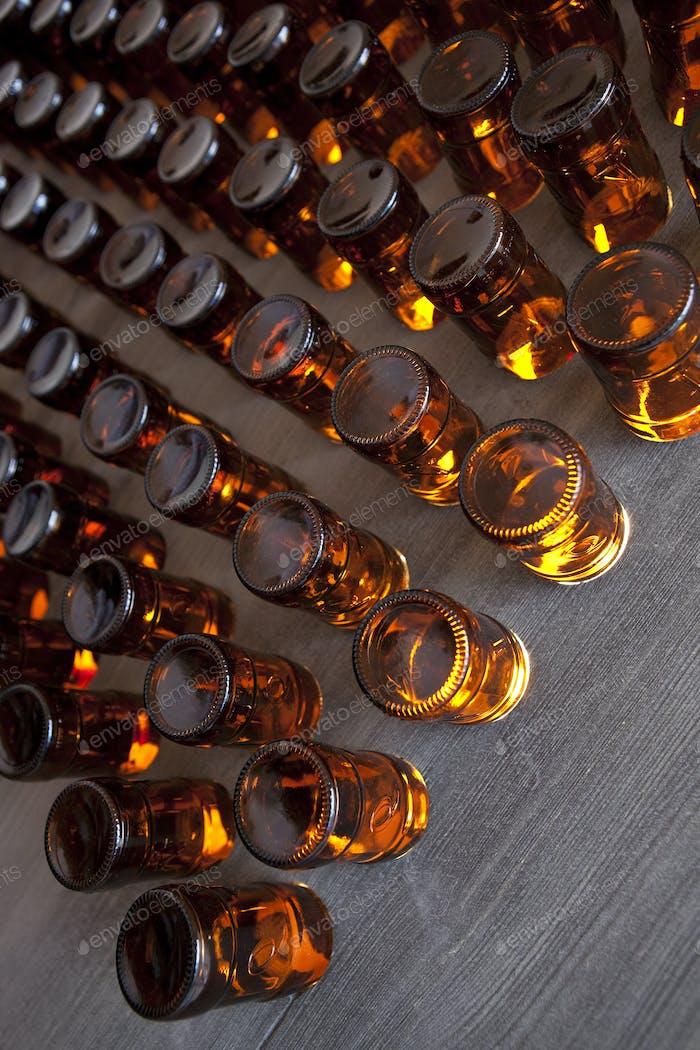 Bottles on a panel