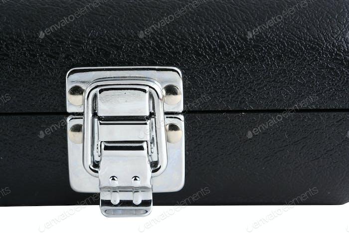 Black flute case silver latch