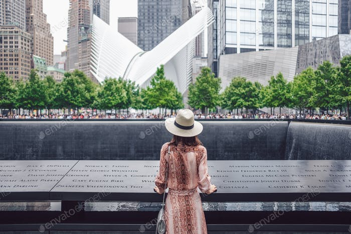 Young girl at the 9/11 Memorial in New