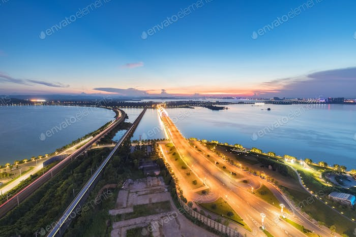 beautiful lake view in sunset on jiujiang