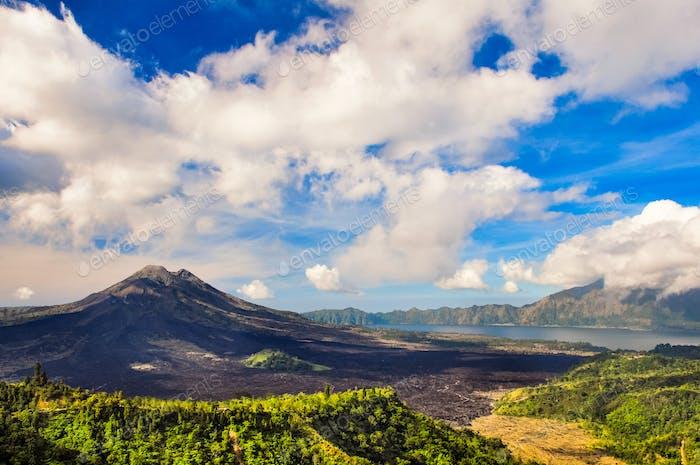 Landscape view of volcano mount Gunung Batur, Kintamani, Bali