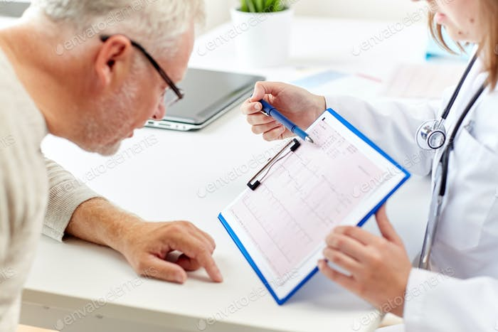 doctor showing cardiogram to old man at hospital