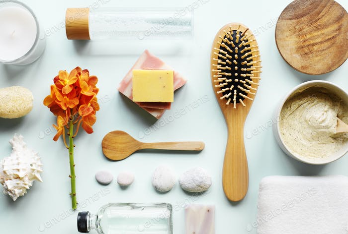 Skincare aromatherapy objects flatlay