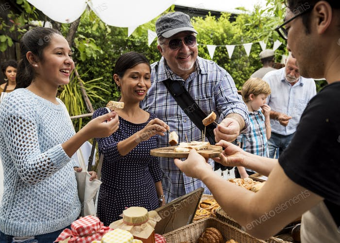 People at healthy local food festive