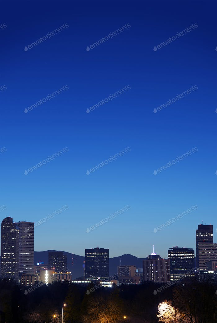 Denver Skyline At Twilight
