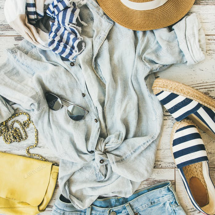 Summer woman's outfit flatlay, top view, square crop