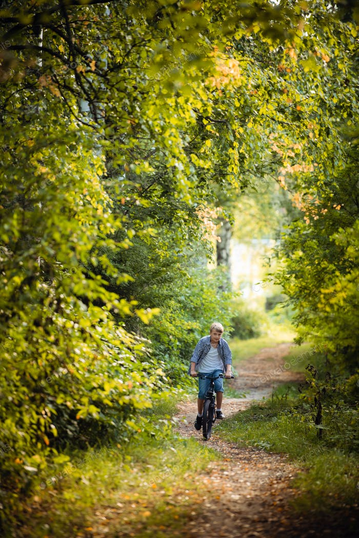 Boy rides the bike in the autumn forest