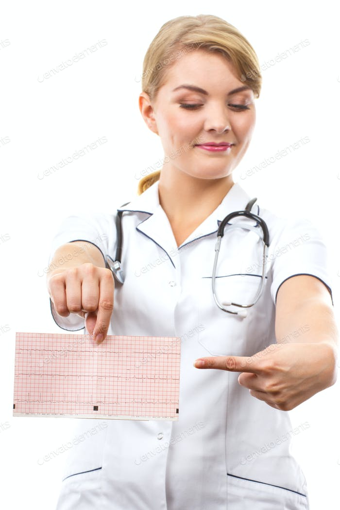 Woman doctor with stethoscope showing electrocardiogram graph, healthcare concept