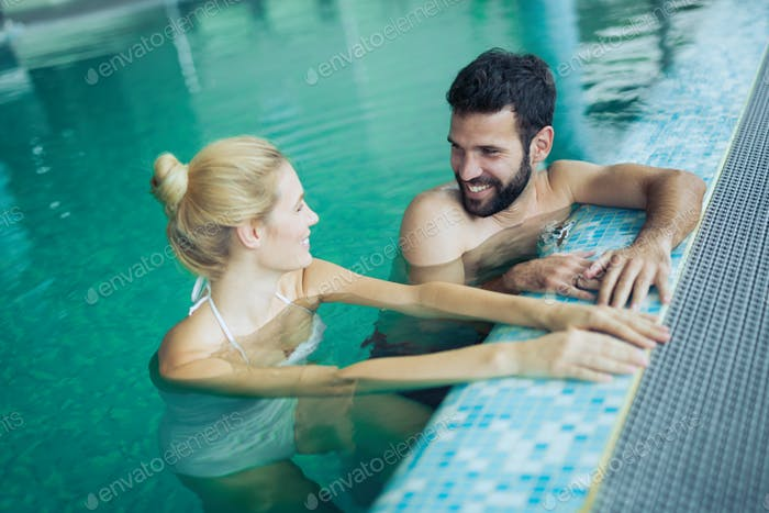 Romantic couple enjoying thermal bath