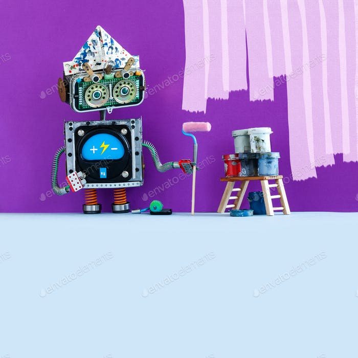 Creative design robot painter at work. Funny robotic decorator with paint roller and buckets, purple
