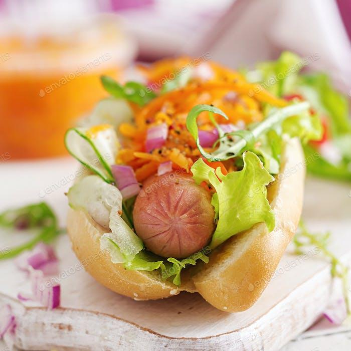 Hot Dog mit Gurke, Karotte, Tomaten und Salat auf hölzernem Hintergrund. Fast-Food-Menü.