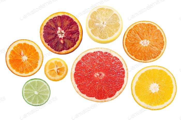 Citrus rings or wheels, top, paths