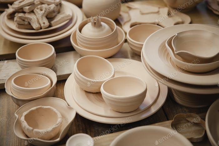 Roasted ceramic products without glaze closeup