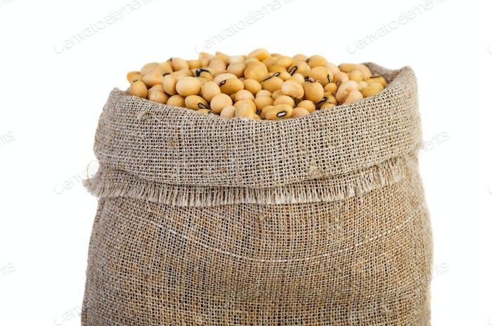 Jute sacks with soja beans