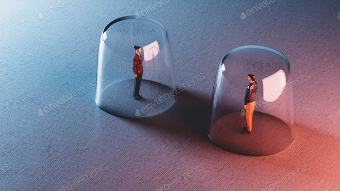 Man and woman meet from behind glassy bubbles. Social distancing