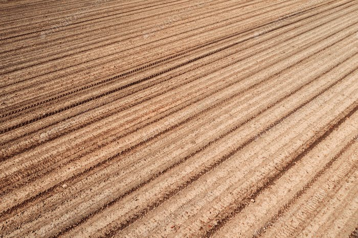 Plowed field land
