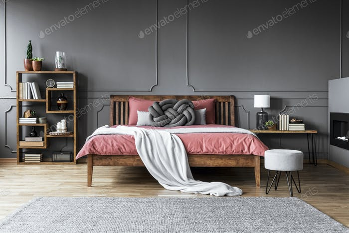 Grey and pink modern bedroom