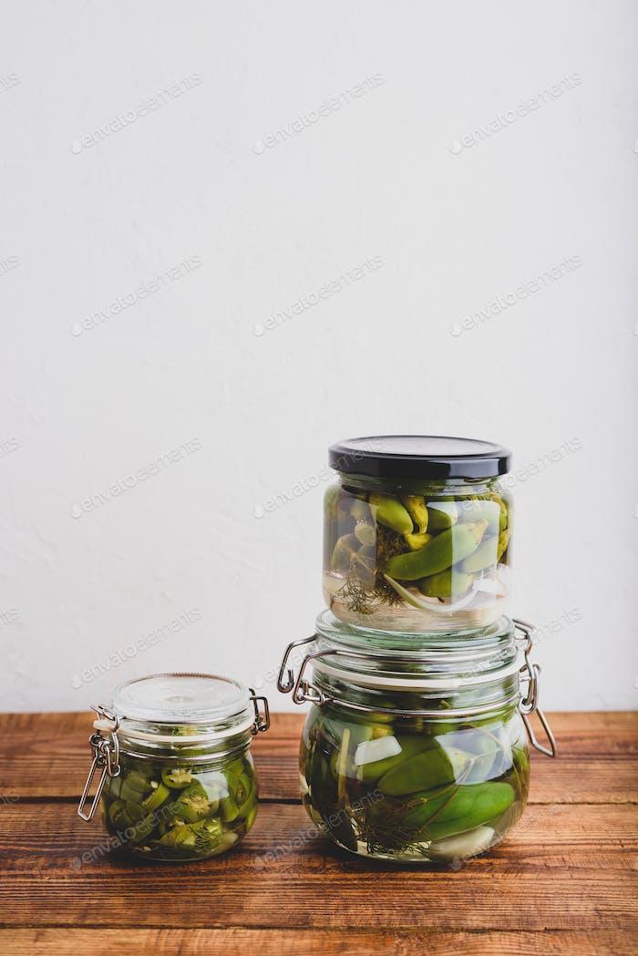 Freshly Pickled Jalapeno Peppers in Jars