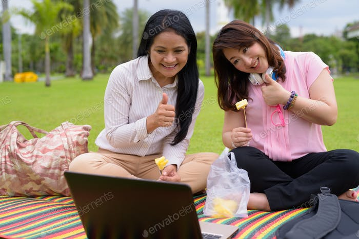 Two mature Asian women together relaxing at the park