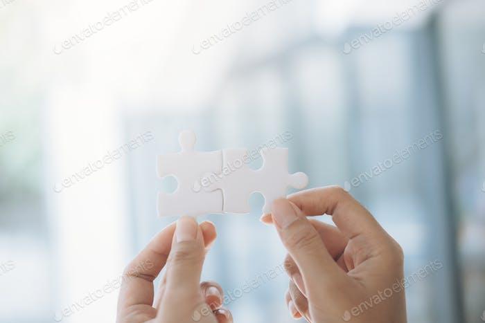 Concepto de asociación empresarial y trabajo en equipo.