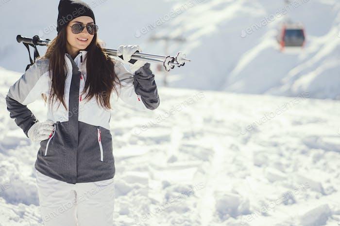girl with ski