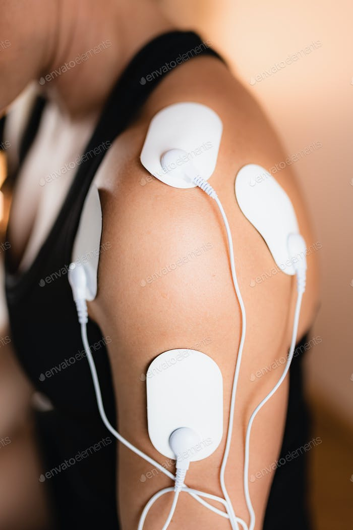 Shoulder Physical Therapy with TENS Electrode Pads, Transcutaneous Electrical Nerve Stimulation