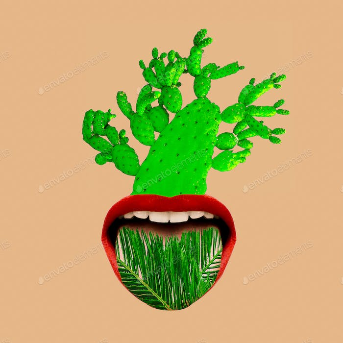 Contemporary art collage tropical mood. Mouth and green. Cactus