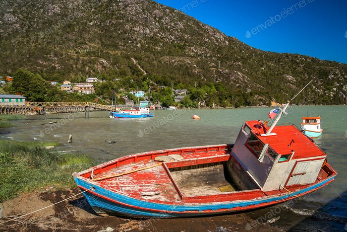 Disused fishing boat In Patagonia
