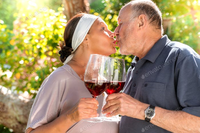 romantic couple with red wine