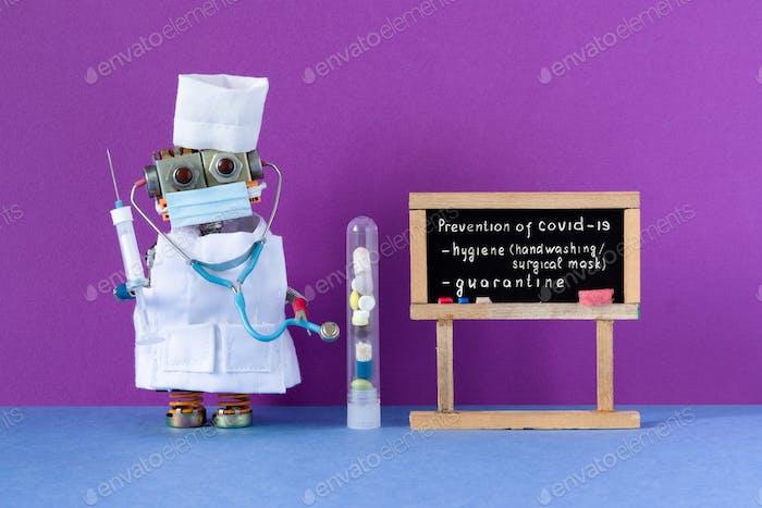 Врач-робот держит шприц с вакциной против коронавируса