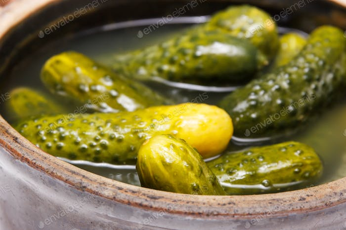 Fresh homemade pickled cucumbers in clay pot