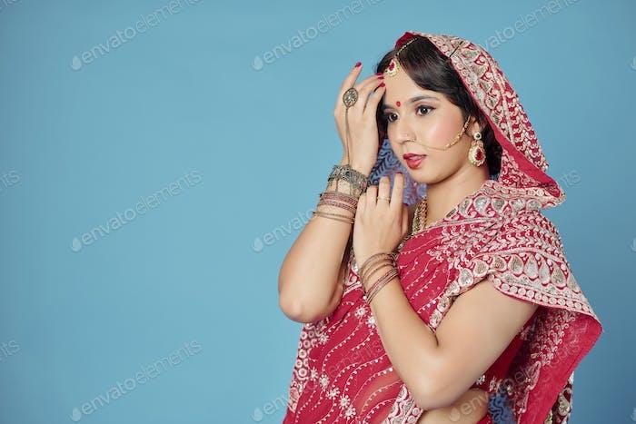 Beautiful woman in traditional sari
