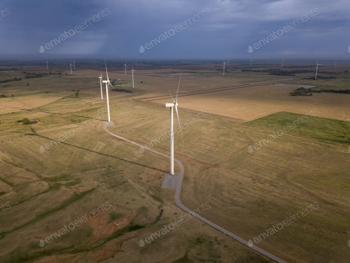 Dramatic aerial view of wind turbines in Oklahoma, USA.
