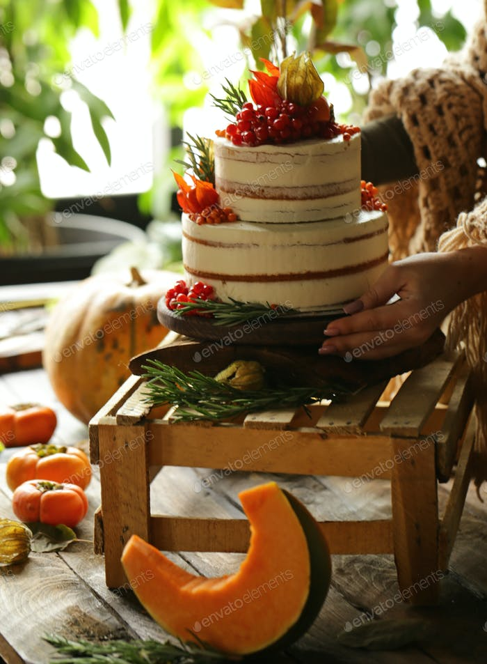 Festive Cake with Autumn Decor