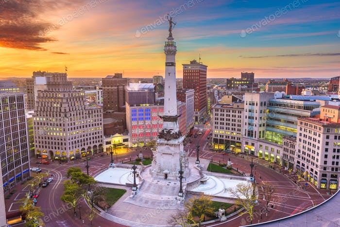 Indianapolis, Indiana, USA Cityscape and Monument