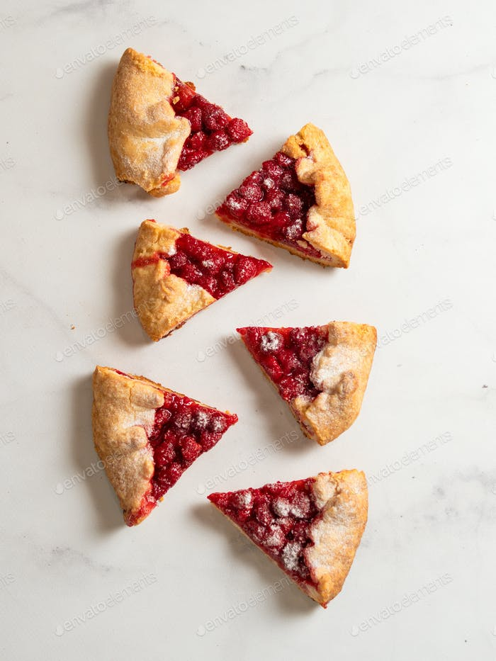 Raspberry galette, raspberries tart, copy space