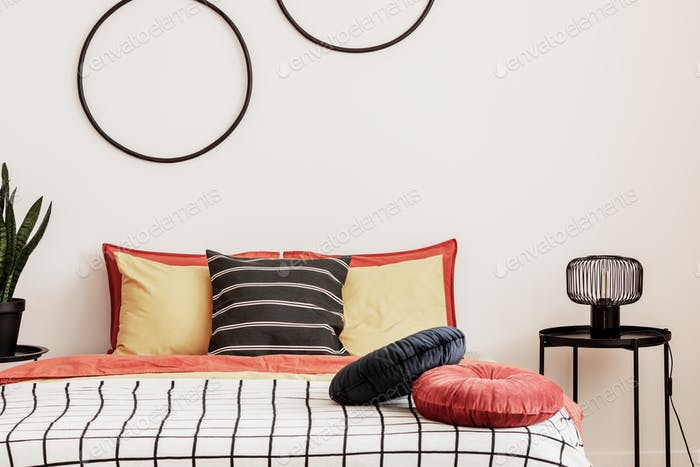 Black hoops on a white wall in an elegant bedroom with orange bedding on the bed