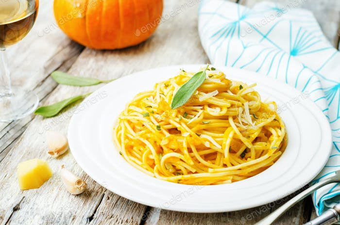 pumpkin pasta with Parmesan cheese and sage