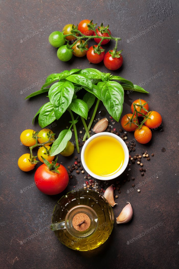 Tomatoes, basil, olive oil and spices