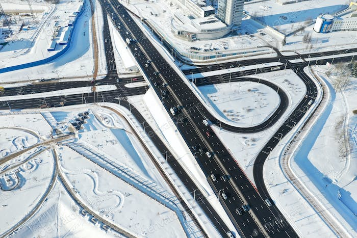Top view of the Winter Independence Avenue in Minsk.View of the intersection of roads in Minsk